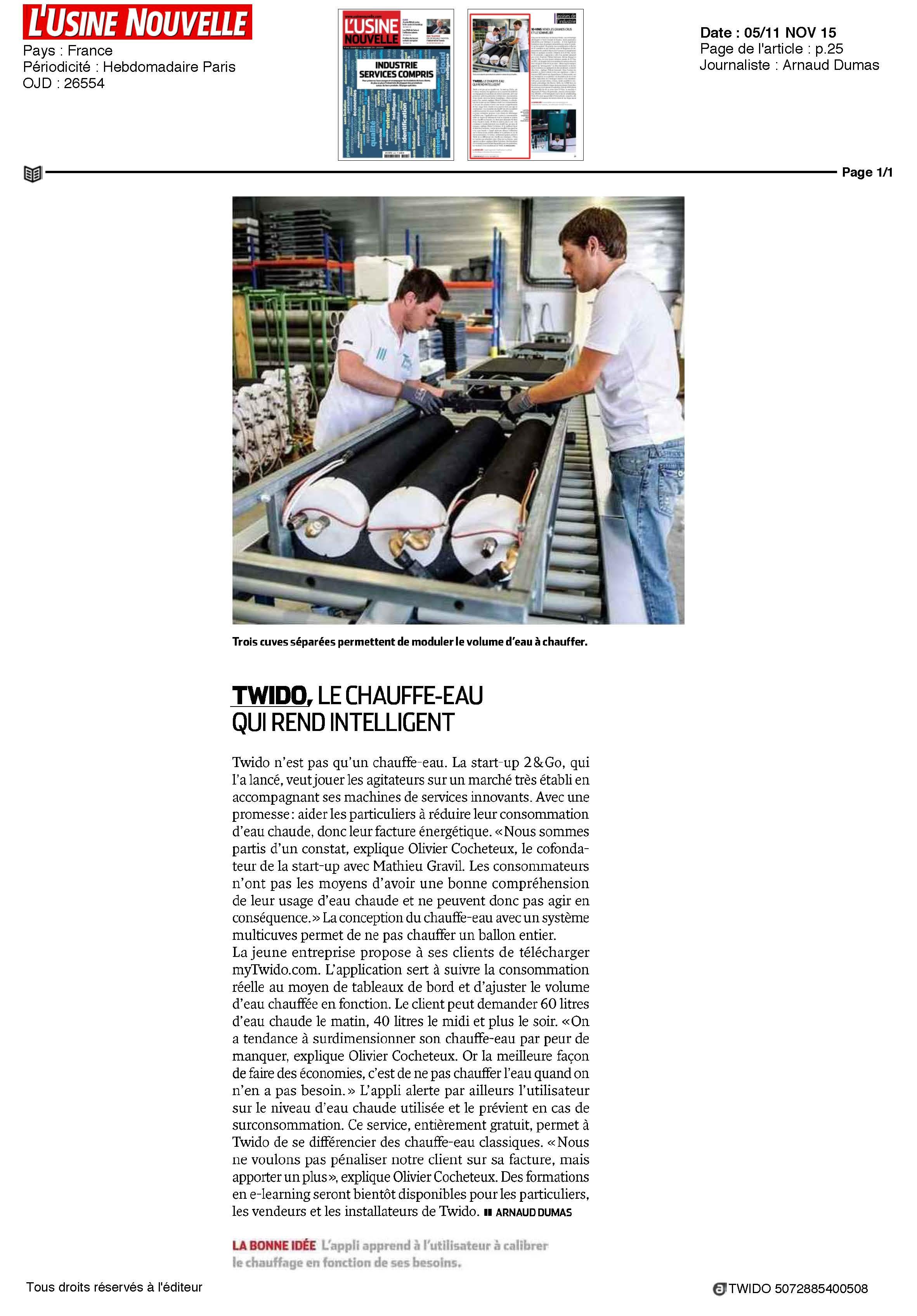 ARTICLE PRESSE : TWIDO, le chauffe-eau qui rend intelligent