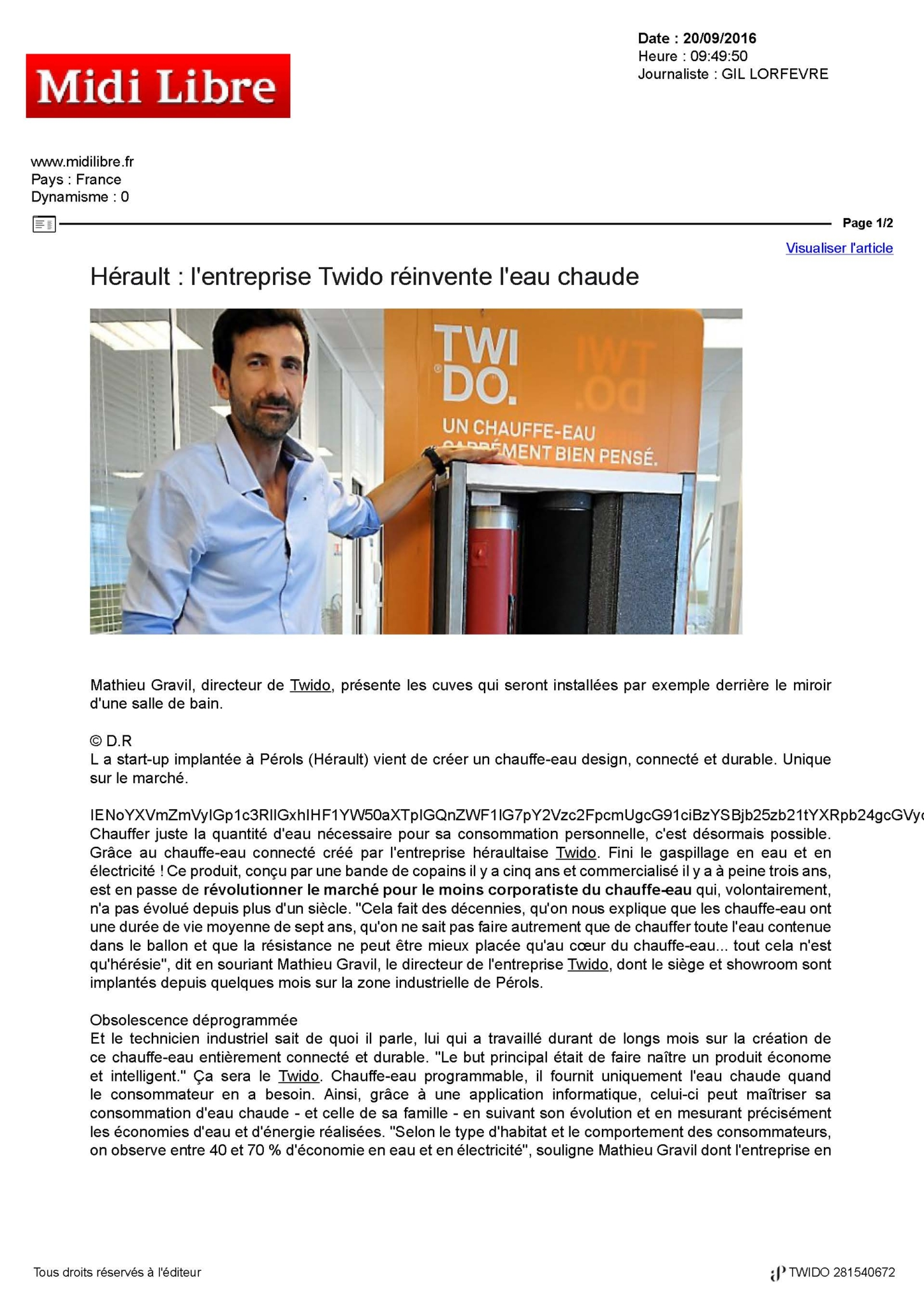 Midi Libre parle de Twido
