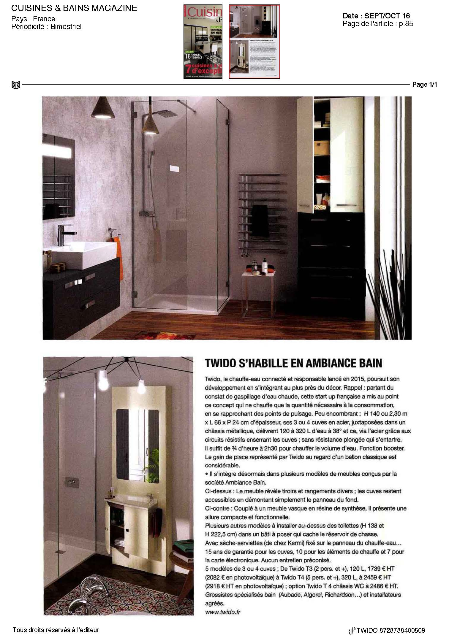 twido dans cuisines bains magazine. Black Bedroom Furniture Sets. Home Design Ideas